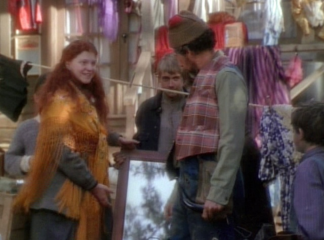 "Ruby May convinces Uncle Bogg that the plaid vest is The Look for him!  My cap from ""Judgment Day"", Christy."